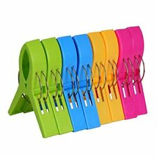 Ecrocy 8 Pack Beach Towel Clips in Bright Colors - Jumbo Size Beach Chair Towel