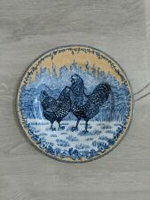 """American Atelier 8 1/4"""" Rooster Toile Salad Dessert Lunch Plate French Country"""
