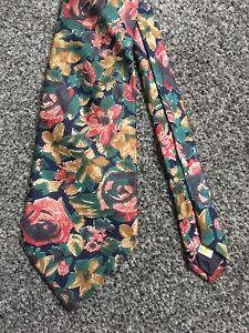 """St Michael blue 100% silk multi floral vintage classic tie 3.5"""" wide 59"""" long"""