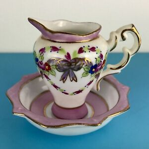 The Leonardo Collection Miniature Wash Bowl And Jug Pink /White hght of jug 7cm