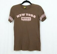 MTV New York Women's Shirt Medium Brown Pink Short Sleeve Top Tee