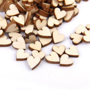 200Pc Unfinished Wooden Heart Pieces Embellishments Scrapbooking DIY Wood Crafts