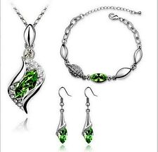 White Gold Plated Pale Green Crystal Necklace Bracelet And Earrings Set