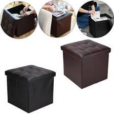 Folding Storage Ottoman Seat Stool Footstool Toy Storage Box Living Room UK