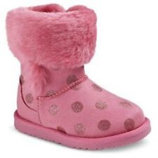 NWT Baby Girls Shoes Boots Pink Faux Fur Glitter Dots Toddler 5
