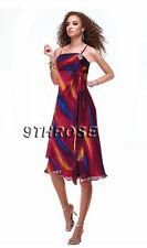 ADORABLE COCKTAIL/PARTY DRESS WITH PLEATS & RHINESTONES; PURPLE & BLUE AU 6/US 4