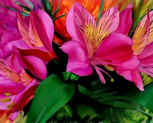 """""""Lilies"""" (Framed) Oil Painting Realism Floral Flowers Nature Colorful Pink Art"""