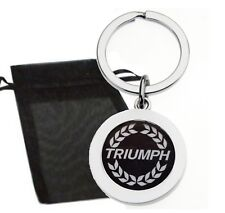 TRIUMPH WHITE CREST METAL KEYRING WITH GIFT BAG HIGH QUALITY