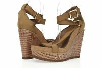 Womens TORY BURCH tan / brown leather t strap wedge sandals sz. 9