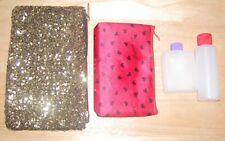 Lot*Gold Sequin*Red*Heart*Cosmetic *Makeup*Bags+Travel*Shampo o*Lotion*Bottles*New