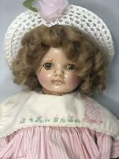 Unidentified Antique 21� Composition Doll Music Cryer Tin Eyes for Restoration