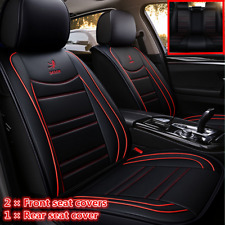 Standard PU Leather Car Seat Covers Front+Rear Seat Cushion Black With Red Lines