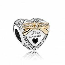 Authentic Pandora Wedding Heart Clear CZ Sterling Silver with 14K Charm 792083CZ