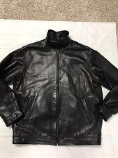 Polo Ralph Lauren Size L Mens Black Lamb Leather Jacket Full Zip Lined Pony Logo