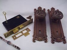 Antique Cast Brass Door Knob Set Mortise Lock Russell Erwin   4 sets aval. #699