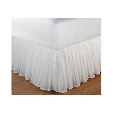 White Ruffled Bedskirt King Gathered Cotton Romantic Dust Ruffle 15 Inch Drop