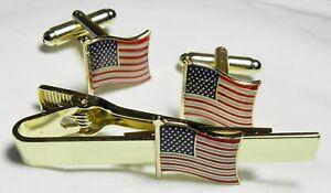 USA America Flag Cuff Links & Tie Bar Clip Stars and Stripes Cufflinks Set