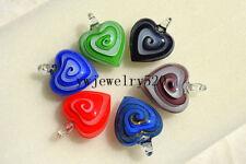 Wholesale Lots 12Pcs Heart Helix Murano Glass Pendant Fit Necklace FREE