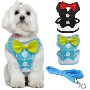 Bowtie Cute Small Dog Harness with Leash set Soft Cotton Pet Puppy Dog Vest S-L
