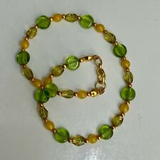 """Glass Beads Gold Tone Spacers 9.75"""" Handmade Anklet Olive Green and Yellow Czech"""