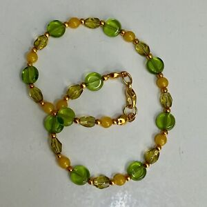 """Handmade Anklet Olive Green and Yellow Czech Glass Beads Gold Tone Spacers 9.75"""""""