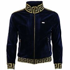 Mens Big and Tall Makobi Sweatsuit Size 4XB Velour Navy and Gold Trim sweatsuit