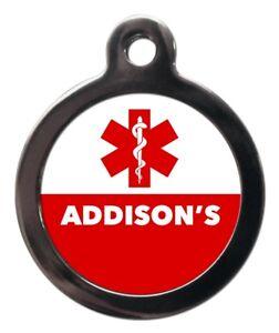 Addison's Medical Pet ID Tag Dog Medicine Symbol Alert Pet Tag Personalised FREE