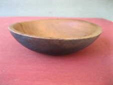 """Vintage Bowl Primitive Country Blue Paint Small 6-1/2"""" Round Wood, Butter Fruit"""