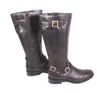 9S Damen Stiefel Boots Leder braun Gr. 42 Biker-Look Schnallen flacher Absatz