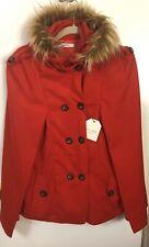 NWT Cellabie Red Faux-Fur Trim Outwear Cape Size XL