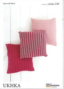 UKHKA Aran with Wool 145, Knitting Pattern for Cushion Covers
