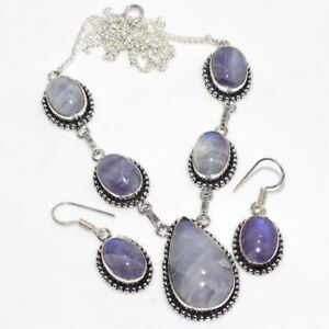 Rainbow Moonstone 925 Silver Plated Necklace Earrings Set Ethnic Gift GW
