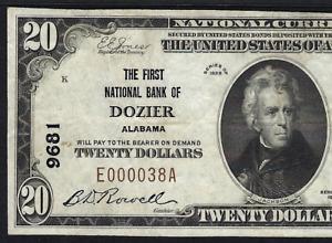 AL 1929 $20 ♚♚DOZIER, ALABAMA♚♚   PMG CH VF 35   VERY RARE!!!