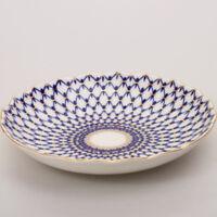 "8.5"" Cobalt Net Biscuit Dish Russian Imperial Lomonosov Porcelain Plate 22K Gold"