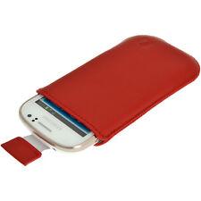 Rojo Piel Funda Bolsita Carcasa para Samsung Galaxy Fame S6810 Smartphone