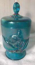 Fenton Art Glass Chinese Cat Iridescent Aqua Blue Footed Candy Dish w/Lid 1988
