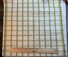 Vintage Linen Kitchen Toweling Towel Fabric Woven Green Stripes Exc