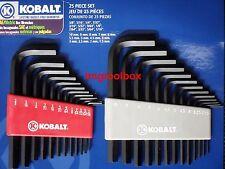 KOBALT 25 PC SET ALLEN HEX KEY WRENCH SAE AND MERTIC 3/8'' 5/16'' 1/4'' 10MM ++