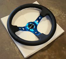 "SALE NRG Steering Wheel Black Leather & Blue Spoke 350mm 3"" DEEP DISH"