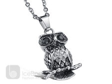 Stylish Owl Stainless Steel Pendant Necklace Chain Unisex - USA Seller