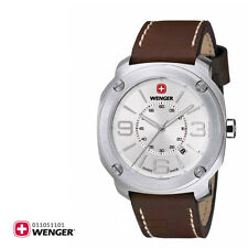 BRAND NEW WENGER 01.1051.101 ESCORT BROWN LEATHER STRAP SILVER CASE MEN'S WATCH
