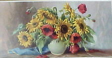 "Beautiful 1/2 Yard  ""Poppies and Sunflowers"""