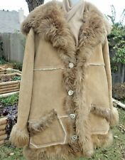 "Mens Overland Sheepskin Co Taos NM Shearling Suede Coat Shawl Collar 17"" 2XL ?"