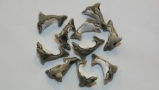 Peruvian Ceramic Gray Dolphin Animal Beads 38X20 mm Lot of 10