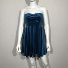 Free People Mini Dress Small Blue Teal Velvet Strapless Turquoise NWT $98
