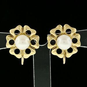 Vintage 14k Yellow Gold 6.8mm Round Pearl Open Flower Frame Screw Back Earrings
