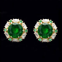 2 CT Green Emerald Halo Marquise Diamond Stud Earrings 14Carat Yellow Gold Over