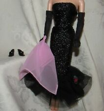 BARBIE VINTAGE REPRODUCTION SOLO IN THE SPOTLIGHT BLACK GOWN SHOES GLOVES 4 DOLL