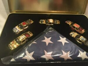 NASCAR 1:64 diecast, five 24k gold cars, Armed Forces commemorative edition