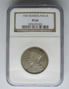 New Zealand 1935 Florin, NGC Proof 66, Only 2 Graded Higher, Mintage 364, KM Tn4